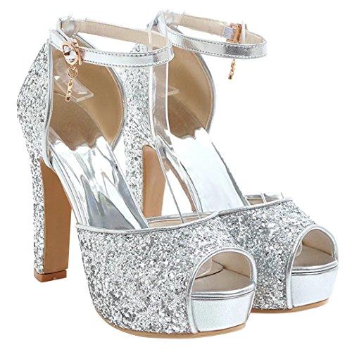 AIYOUMEI Damen Peep Toe High Heels Glitzer Sandalen mit Knöchelriemchen Blockabsatz Plateau Sommer Schuhe Silber