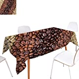 French Provincial Coffee Table Warm Family Kitchen Dinner Picnic Table ClothSelection of Fresh Roasted and Unroasted Coffee Beans in a Diagonal Stripe Pattern Waterproof Table Cover for Kitchen 60
