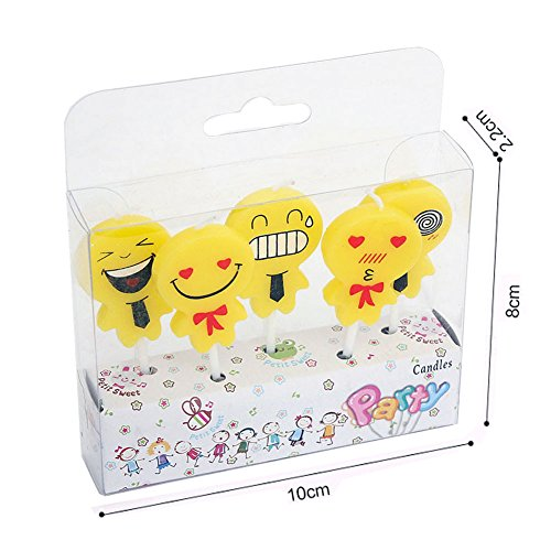 Birthday Candles Cute Emoji Themed Party For Kids Adults Yellow Cupcake