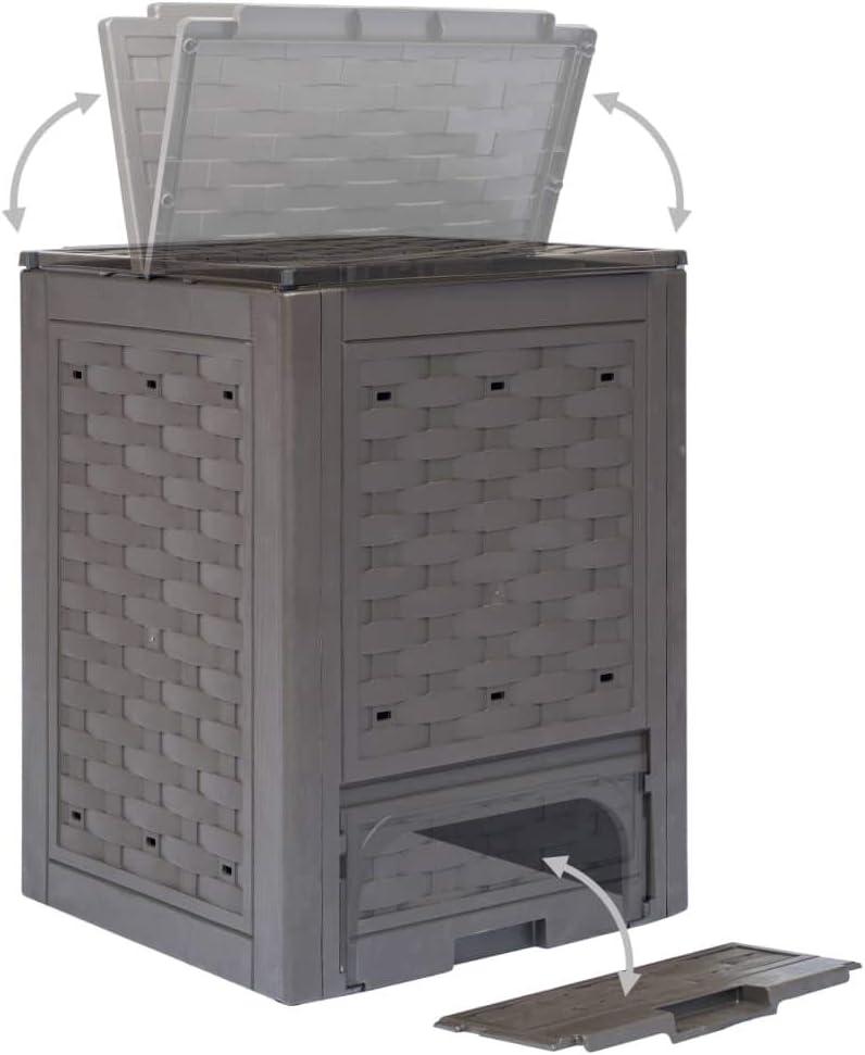 Kompostierer Schnellkomposter Thermokomposter 60x60x83 cm Braun mit Bel/üftungsl/öchern Tidyard Gartenkomposter 2 STK 600 L aus Kunststoff