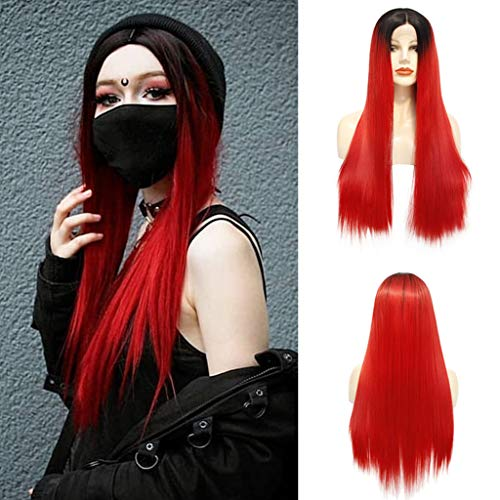 ☘️RNTOP☘️Black Root to Red Long Straight Type Heat Resistant Hair Women Beauty Blogger Comgirl Daily Makeup Party Cosplay Present Synthetic Lace Front Wigs -