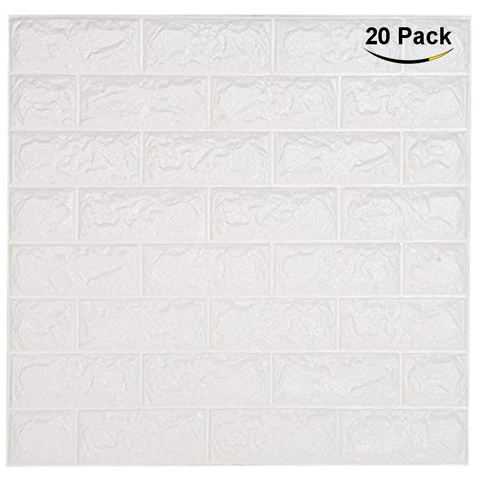 "NHSUNRAY 3D Brick Wallpaper PE Foam Non-toxic Odor-free Self-adhesive DIY Panel Decal Wall Covering Sticker Pattern Background for Bedroom Living room(23.6"" X 23.6"" /60 X 60 cm) (20pcs, White)"