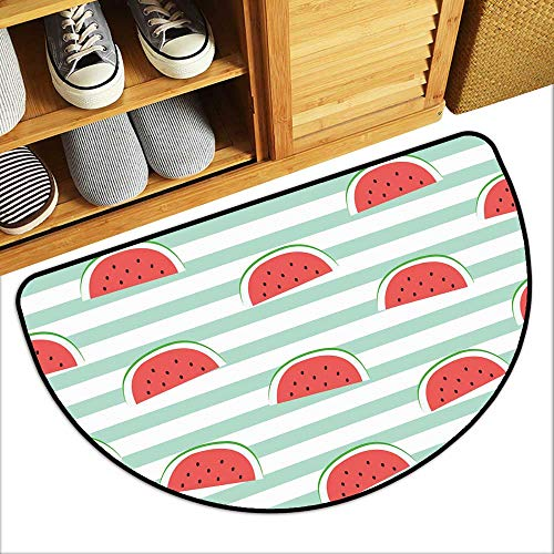 TableCovers&Home Kitchen Rugs Floor mats re Watermelon Slice Design on Stripe Blue backgroun Wallpaper Backdrop Waterproof Semi-Circular W31xH19 INCH
