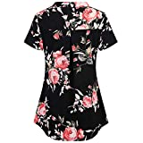 Women's Plus Size Tops Casual Round Neck Short-Sleeved Zipper Loose Printed T Shirt (XXL, Black)