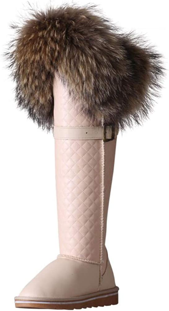 ACE SHOCK Womens Snow Boots Knee-Length,Leather Upper Faux-Fur Lined Hidden Heeled Winter Shoes