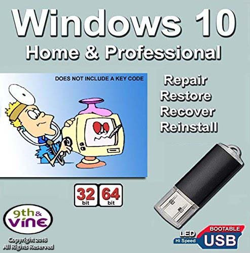 Windows 10 Home & Professional 32-64 Bit Install | Boot | Recovery | Restore USB Flash Drive Disk Perfect for Install or Reinstall of Windows
