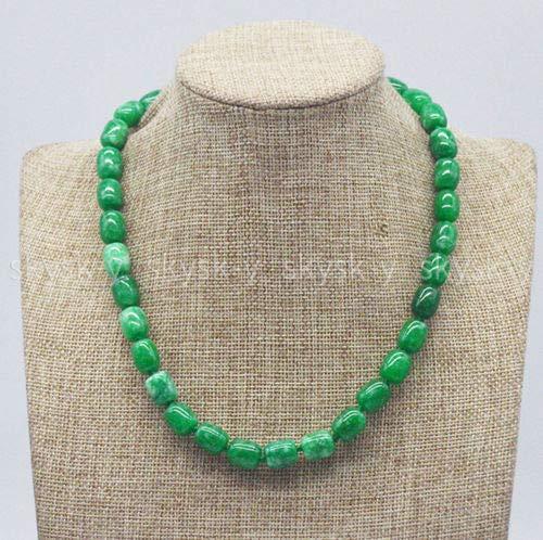 - FidgetKute Handmade Pretty 9x11mm Green Emerald Cylinder Beads Gemstone Necklace 16-36'' 16