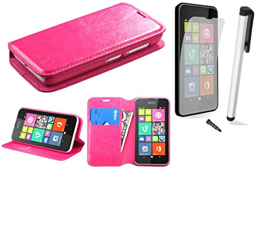 (T-Mobile Cricket) PU Leather Flip Cover Folio Book Style Pouch Card Slot Myjacket Wallet Case + [WORLD ACC Brand LCD Screen Protector + Silver Stylus Pen + Black Dust Cap Free Gift (PU Leather Folio Wallet Hot Pink) ()