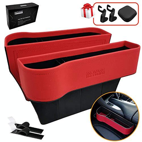 Inovare Designs - Organizador lateral de piel sintética para asiento de coche con tapete antideslizante, 9.4 x 6.5 x 2.0in, 2 unidades, color negro (piel roja - 2 unidades)