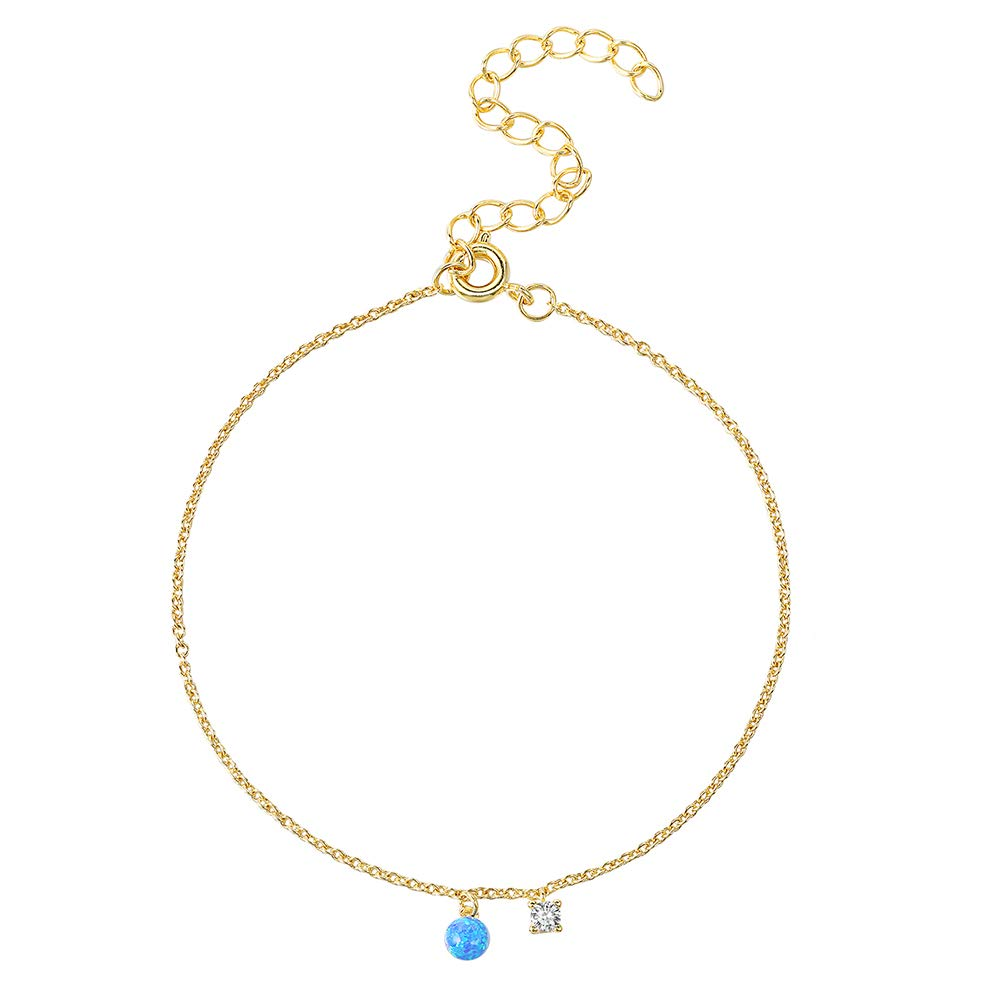 TIDOO Jewelry Women Copper Opal Charm Anklet for Girls Fashion Cubic Zirconia Charm Anklet