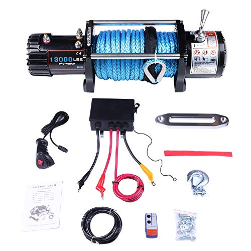 ECCPP Winches, 12V 13000 LBS Electric Winch+Aluminum Fairlead+Synthetic Rope+Control Box Assembly+Wireless/Hand Remote Controller+Negative Wire+Hook+Bolts for SUV/ATV/4WD/Off