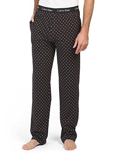 (Calvin Klein Men`s Logo Waistband PJ Pants (Black(P1801O-010)/CK Logo Print, Large))
