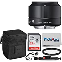 Sigma 19mm f/2.8 DN Lens for Sony E-mount Cameras (Black) + 32GB Memory Card + 46mm Multi-Coated UV Filter + Cleaning Pen + Photo4Less Cleaning Cloth + Lens Cap Holder – Top Lens Accessory Bundle