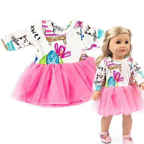 Wensltd Chirstmas Clothes Dress for 18 Inch American Girl Doll Accessory Girl Toy (Pink 1)