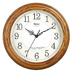 HENSE 13-inch Large Solid Platane Wood Wall Clock Living Room Modern Clock Mute Simple Quartz Clock with Big Arabic Numerals and Fine Texture HW13 (HW13 #C-LB)