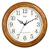Cheap HENSE 13-inch Large Solid Platane Wood Wall Clock Living Room Modern Clock Mute Simple Quartz Clock with Big Arabic Numerals and Fine Texture HW13 (HW13 #C-LB)