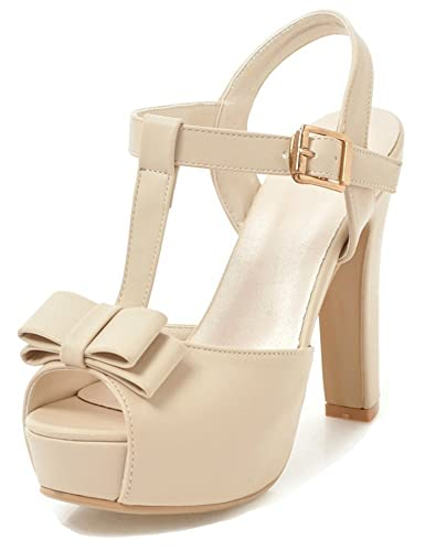 c5336fcc98ee Aisun Women s Peep Toe Sandals with Bow - Platform Ankle T Strap High Heel  - Buckled