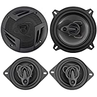 (2) Rockville RV5.3A 5.25 600w 3-Way Car Speakers+(2) 3.5 200w 3-Way Speakers