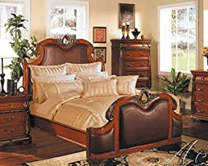 queen size bed bycast headboard footboard cherry finish bed with tv in footboard. Black Bedroom Furniture Sets. Home Design Ideas