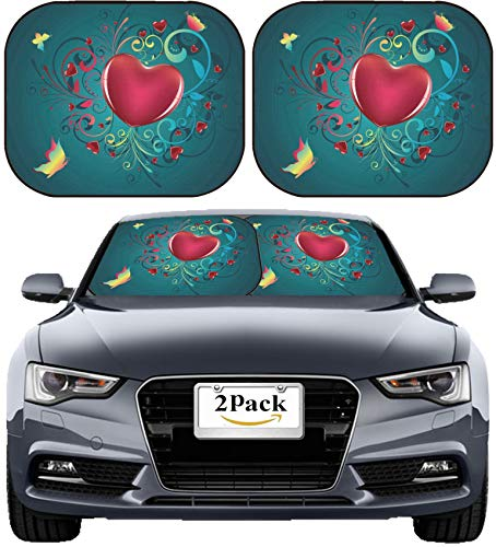 MSD Car Sun Shade Windshield Sunshade Universal Fit 2 Pack, Block Sun Glare, UV and Heat, Protect Car Interior, Image ID: 36816309 Red Glossy Heart with Decorative Floral Ornament and Colorful Butter