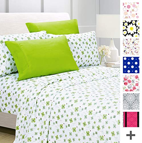American Home Collection Deluxe 6 Piece Printed Sheet Set Highest Quality Of Brushed Fabric, Deep Pocket Wrinkle Resistant - Hypoallergenic (Queen, Lime Green Floral)