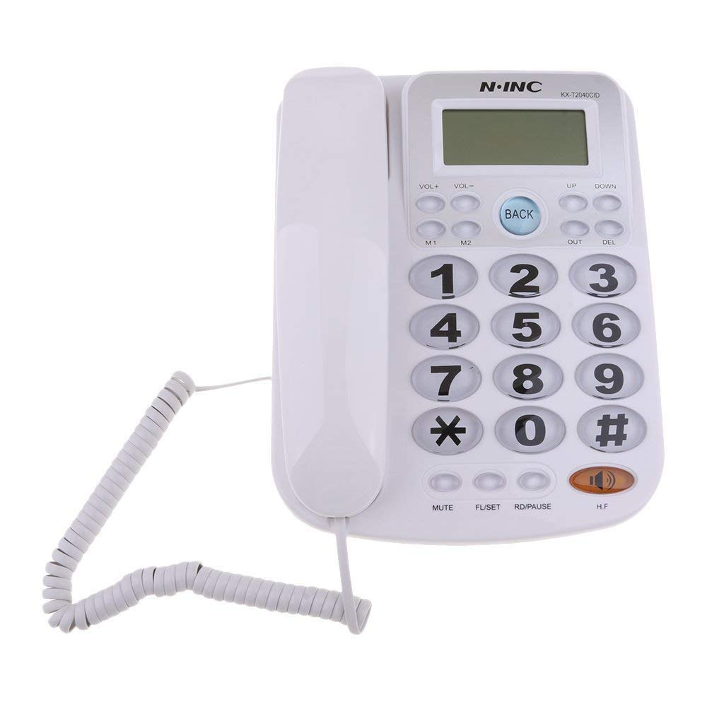 Big Button Corded Phone for Elderly with Caller ID Speed Dial Alarm Function Landline Telephone for Seniors White