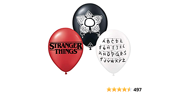"""10 X 12/"""" COLOURED STRANGER THINGS Themed Latex Printed Balloons Birthday PARTY"""