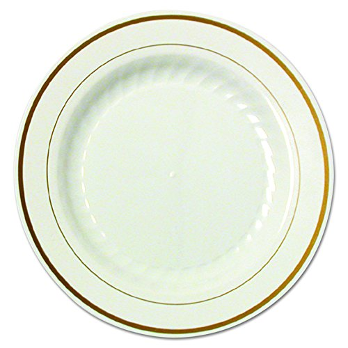 WNA MP6IPREM Masterpiece Plastic Plates, 6 in, Ivory w/Gold Accents, Round (Case of 150)
