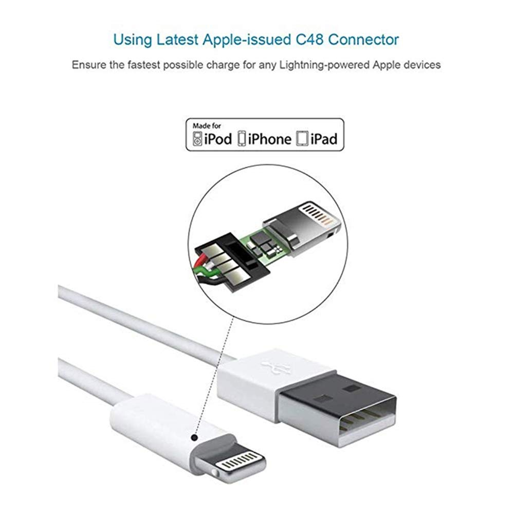 Apple iPhone/iPad Charging/Charger Cord Lightning to USB Cable[Apple MFi Certified] Compatible iPhone X/8/7/6s/6/plus/5s/5c/SE,iPad Pro/Air/Mini,iPod ...