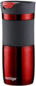 Contigo Byron Snapseal Travel Mug, Stainless Steel Thermal Mug, Vacuum Flask, Leakproof Tumbler, Coffee Mug with BPA Free Easy-Clean Lid, 470 ml, Red