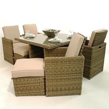 Muebles de jardín de ratán Memphis 7 piezas Cube con reposapiés ...