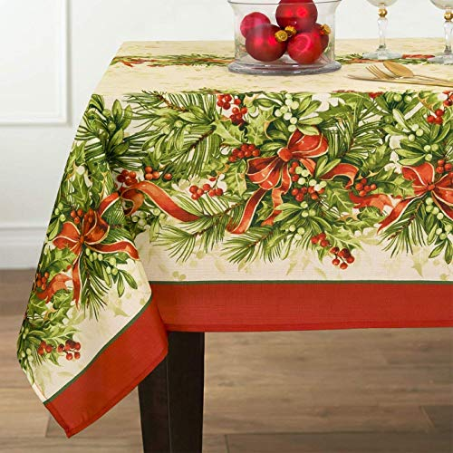 Newbridge Holly Ribbon Traditions Fabric Christmas Holiday Tablecloth, Xmas Ribbons Double Border Tablecloth, 60 Inch x 144 Inch Oblong/Rectangle