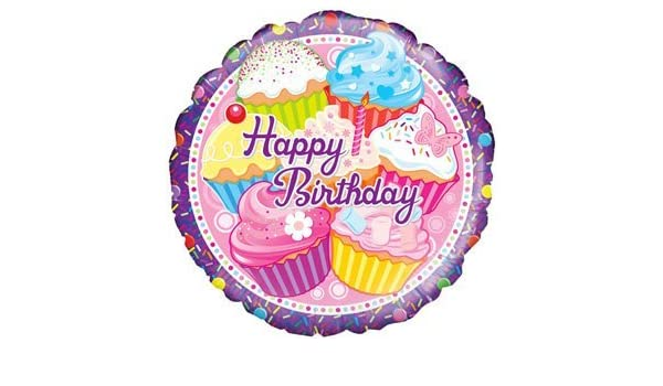 Amazon Happy Cupcake Birthday Balloon Delivered Inflated In A Box By InterBalloon Toys Games
