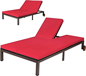 Tangkula 2-Person Patio Lounge Chair, Outdoor Rattan Double Wicker Daybed Chaise Lounge Chair with Adjustable Backrest Wheels & Cushion, Patio Sofa for Garden Lawn Backyard (Red)