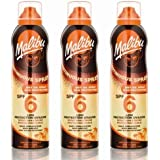 3 Malibu Aerosol Continuous Dry Oil Sprays SPF 6. Pack Contains 3 Bottles - 175ml Each