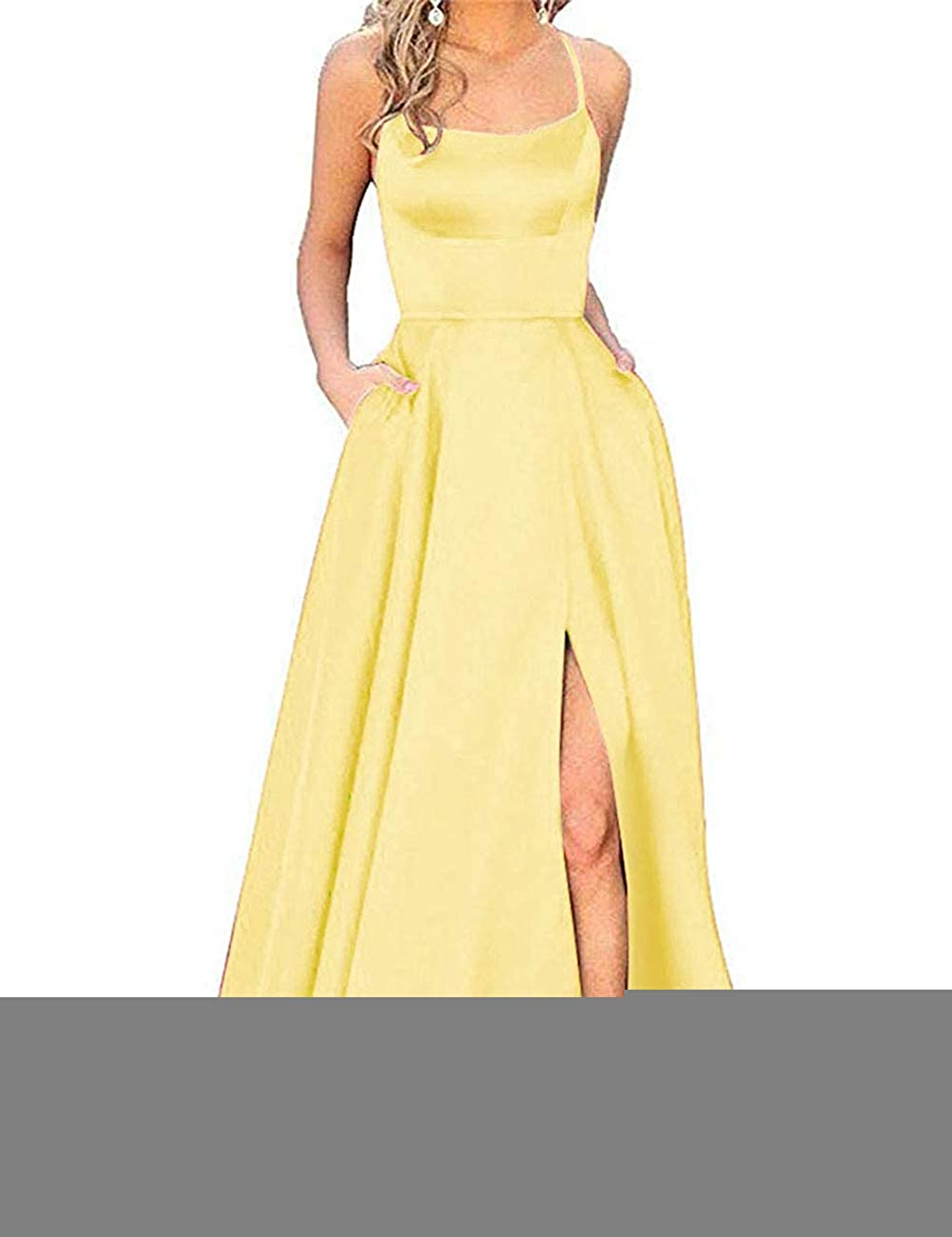 Yellow APXPF Women's Spaghetti Straps Satin Prom Dress Long Split ALine Formal Party Gown with Pockets