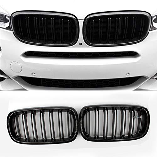 Fandixin F15 Grille, Carbon Fiber Front Kidney Grill Front Bumper Hood Grill for BMW X5 Series F15 X6 Series F16 X5M F85 X6M F86 Gloss Black