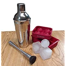 Big Chiller Bar Set Includes Stainless Steel Martini Shaker / Cocktail Shaker - Large 20 oz Capacity, Muddler and 2 XL Square Ice Cube Tray and Round Ice Molds for the Perfectly Chilled Cocktail