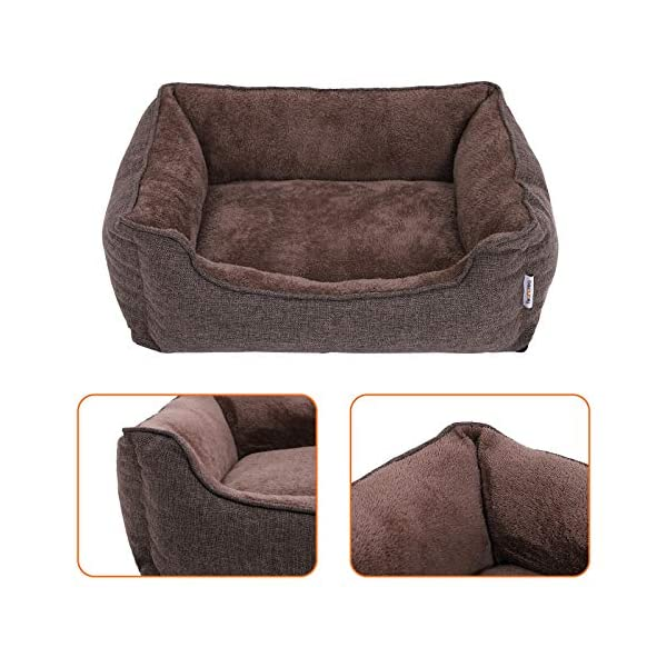 FEANDREA Washable Plush Dog Bed with Removable Cover, Dog Sofa, Brown PGW10CC 4