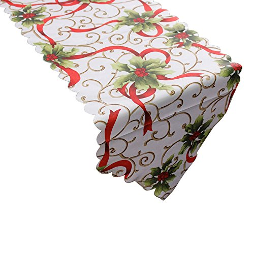 Wffo Table Runner, Decorative Christmas Santa Claus Tapestry Poinsettia 14x71 Inch -