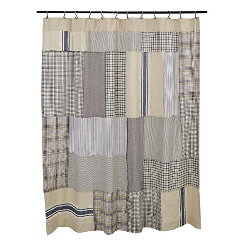 wer Curtain, 72 x 72, Farmhouse Style (Ticking Patchwork)