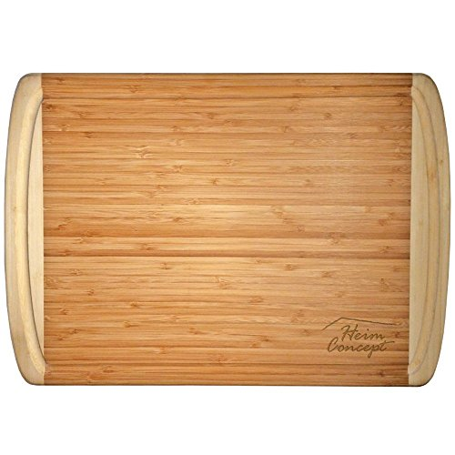Organic Bamboo [ HEIM CONCEPT ] Cutting Board and Serving Tray with Drip Groove Extra Large [ 18 x 12 inches - 1'' inch Thick ] Eco-Friendly Thick Strong Premium Bamboo Kitchenware by Heim Concept (Image #3)