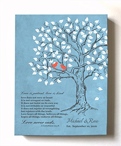 Blue Personalized Canvas (MuralMax - Personalized Family Tree & Lovebirds, Stretched Canvas Wall Art, Make Your Wedding & Anniversary Gifts Memorable, Unique Decor, Color Blue # 1 - 30-DAY - Size - 16x20)