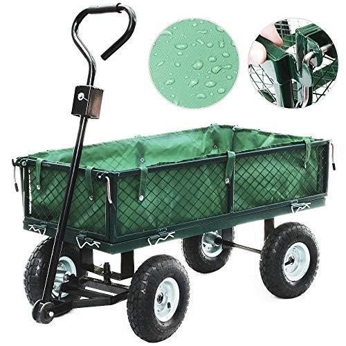 Anaelle-Pandamoto-Chariot-de-Transport-Charrette–Bras-sur-Maison-Jardin-Entrept-et-Ferme-etc-Taille-955055cm-Poids-18kg-Vert-et-noir