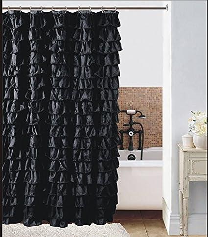 Waterfall Black Ruffled Shower Curtain