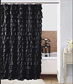 Captivating Waterfall Ruffled Fabric Shower Curtain (black)