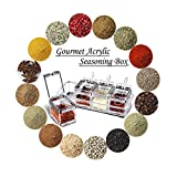 Seasoning Storage Box, Canned Acrylic Stainless Steel Side, Kitchen Seasoning Rack, Spice Jar, Storage Container, 4 Rooms/Spoon
