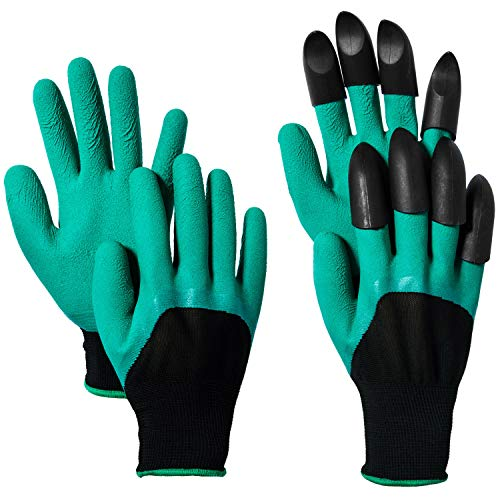 CandyHome Garden Gloves with Claws Garden Genie Gloves Universal Size Great for Digging Weeding Seeding Poking, Quick & Easy to Dig Without Tools (2 Pairs, Green)