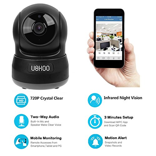 Wireless Security Camera, UOKOO 720P HD Home WiFi Wireless Security Surveillance Camera with Motion Detection Pan/Tilt, 2 Way Audio and Night Vision Baby Monitor, Nanny Cam Wireless Security Camera, UOKOO 720P HD Home WiFi Wireless Security Surveillance Camera with Motion Detection Pan/Tilt, 2 Way Audio and Night Vision Baby Monitor, Nanny Cam 51La 2BQkPSOL
