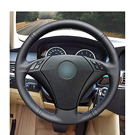 DBBXYQ Cubierta del Volante de Cuero Negro Cosida a Mano para BMW 530 523 523li 525 520li 535 545i E60